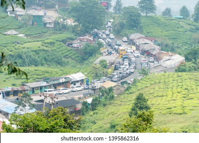 Puncak, Indonesia - April 27, 2019: The traffic jam on Puncak Pas, Bogor, Indonesia.
