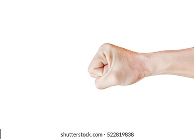 Punch fist of a man, Hand with clenched a fist isolated on white background.