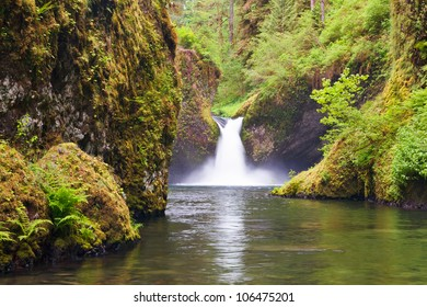 Punchbowl Falls in Eagle Creek near the Columbia River Gorge and Portland Oregon is a roaring experience.