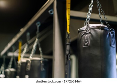 Punching bags in a gym. High quality photo Detail of some boxing bags hanging in a gym with black painted walls