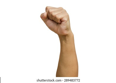 punching fist on white background
