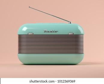 Punchy pastels vintage radio on pink background 3D illustration