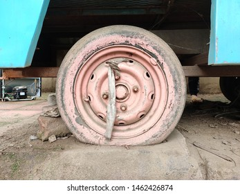 A punctured yet decorated tyre an example of creativity out of waste