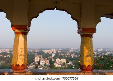 pune city view from hill top temple window