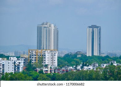 Pune Cityscape Skyline, buildings, holdings, Signboards, and banners, Pune, Maharashtra, India - 30 August 2018