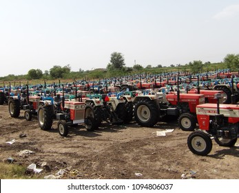 Pune, India, 18th May 2018, tractor factory parking