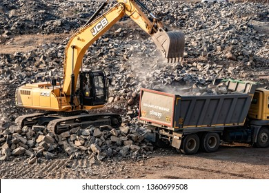 Pune, India - April 6 2019: An earth excavator machine in action at Pune India.