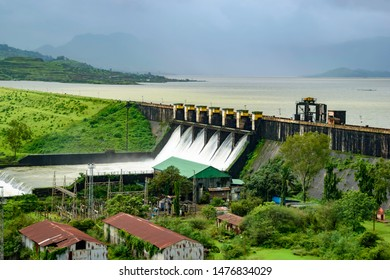Pune, India - August 11 2019: The Pawna dam during the monsoons near Pune India.  Monsoon is the annual rainy season in India from June to September.