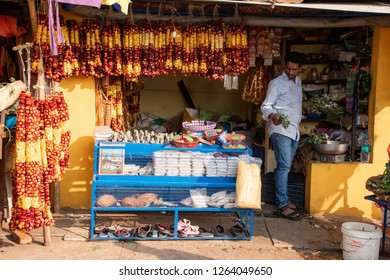 Pune, India - December 16 2018: A shop selling religious artefacts at Bhimashankar Temple near Pune India.