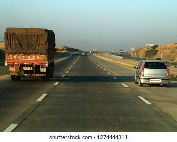 Pune, India - February 01 2005: The Mumbai Pune Expressway near Pune India.