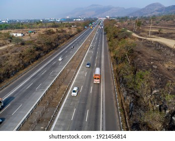 Pune, India -  February 21 2021: Aerial footage of the Mumbai-Pune Expressway near Pune India. The Expressway is officially called the Yashvantrao Chavan Expressway.