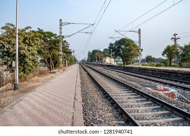 Pune, India - January 05 2019: Railway tracks with electrification at Manjari Budruk station near Pune India.