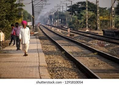 Pune, India - January 05 2019: Railway tracks with electrification at Manjari Budruk station near Pune India.