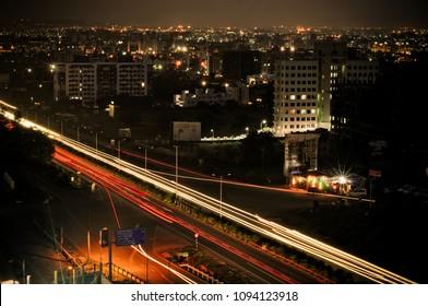 Pune, India - July 7 2013: Night cityscape at Pune India.