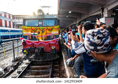 Pune, India - June 01 2019: Celebrating the 90th birthday of a popular train, the Deccan Queen. This trains runs between Pune and Mumbai, India.