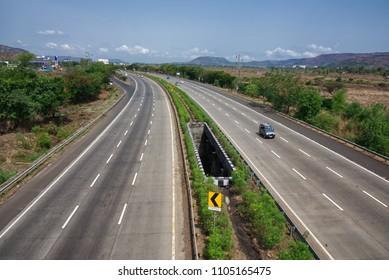 Pune, India - June 03 2018: The Mumbai Pune Expressway.