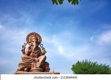 Pune, India - June 03 2018: Large statue of Lord Ganesha at Dehu Road, near Pune India.