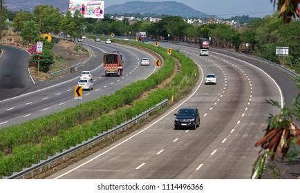 Pune, India- June 03 2018: The Mumbai Pune Expressway near Lonavala India.