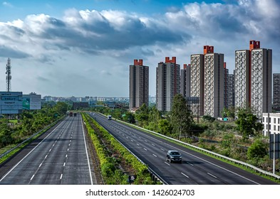 Pune, India - June 16 2019: The Mumbai-Pune Expressway during the monsoon season near Pune India. Monsoon is the annual rainy season in India from June to September.