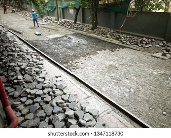 Pune, India - March 23 2019: A driveway under repairs at a building at Pune India.