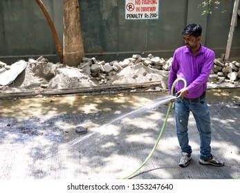 Pune, India - March 28 2019: A driveway under repairs at a building at Pune India.