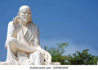 Pune, India - May 26 2018: Saibaba Statue at Hadshi Temple near Pune India.