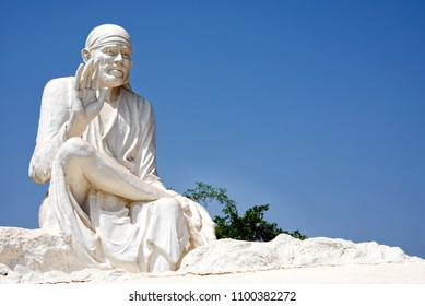 Pune, India - May 26 2018: Statue of SaiBaba at Hadshi Temple near Pune India.