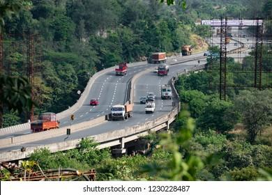 Pune, India - November 03 2018: The Mumbai Pune Expressway near Pune India.