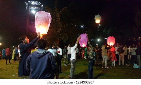 Pune, India - November 2018: People light up Lanterns on the ocassion of Diwali festival in India