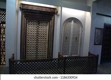 PUNE, INDIA - OCT 2, 2017 - Large exterior doors,Raja Dinkar Kelkar Museum, Pune, India