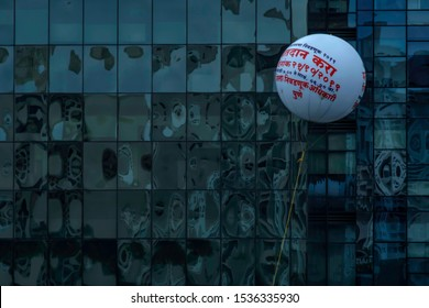 Pune, India - October 20 2019: A tethered balloon with message asking voters to vote for the Maharashtra assembly elections scheduled on 21st October 2019, at Pune India.