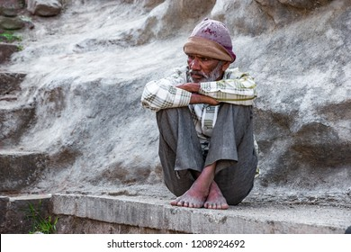 Pune, India - October 21 2018: Candid portrait of an old man at Pune India.