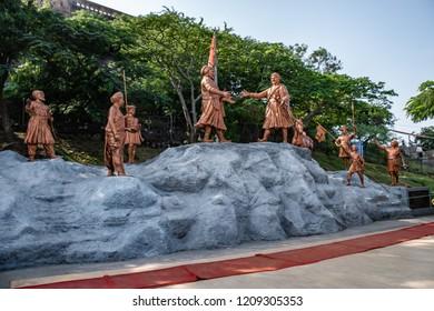 Pune, India - October 21 2018: Statues related to Hindu Indian mythology, folklore and tradition at Khandoba Temple at Jejuri near Pune India.