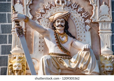 Pune, India - October 21 2018: Statues related to Hindu Indian mythology, folklore and tradition at Khandoba Temple at Jejuri near Pune India.