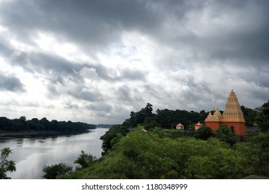 Pune, India - September 02 2018: Temple by the riverside at Tulapur near Pune India.