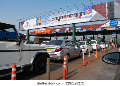 Pune, India - Toll plaza on the Mumbai Pune Expressway near Pune India.