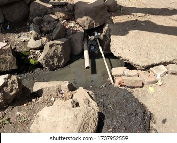 Pune, Maharashtra/ India- April 2019: Poor sanitation for waste water and poor management of drinking water in rural/ urban areas