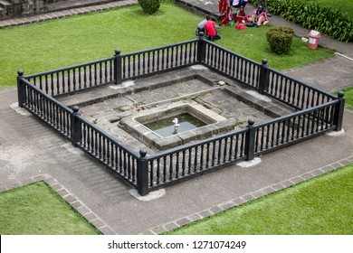 PUNE, MAHARASHTRA, INDIA - AUGUST 7, 2017: Shaniwar Wada palace fountain. Shaniwarwada is a historical fortification in the city of Pune in Maharashtra, India, built in 1732.