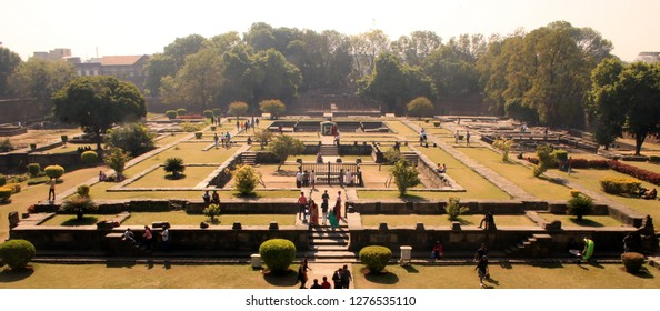 Pune, Maharashtra, India, December 29, 2018 - The gardens inside the shaniwarwada fort. This was the residence of the marathi/maratha warrior general Bajirao Peshwe in the 17th century.