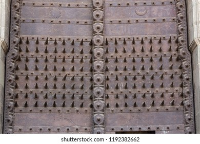 Pune, Maharashtra, India - Feb 2 2016 : The spiked main doors of Shaniwar Wada Fort, used to deter attack by elephants