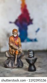 Pune, Maharashtra, India - Jan 31 2016 : Small roadside shrine of saint Sai Baba on Baner Road
