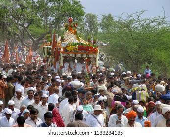 PUNE, MAHARASHTRA, INDIA, June 2004, Saint Dnyaneshwar Maharaj Palkhi with devotee and pilgrims during holy procession
