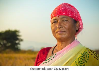 Pune, Maharashtra, India - November 17, 2018 : Portrait of a strong, confident Indian village woman