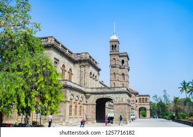 PUNE, MAHARASHTRA, INDIA- NOVEMBER 2018:  Savitribai Phule Pune University main building. The university is named after Savitribai Phule, a 19th-century Indian social reformer.