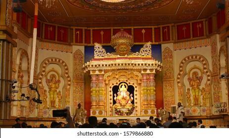 PUNE, MAHARASHTRA, INDIA, September 2019, People at Shree Dagdusheth Halwai Ganapati temple decoration during Ganesh festival