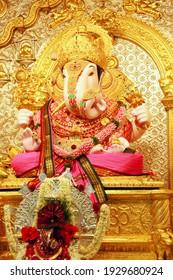 Pune, Maharashtra October 23 2019 : The Ganesh Idol of Shreemant Dagdusheth Halwai Ganpati Mandir