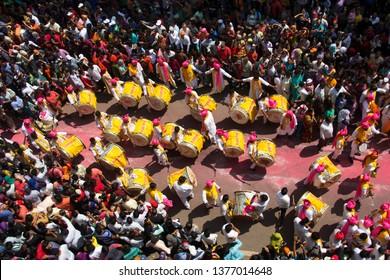 PUNE, MAHARASHTRA, September 2018, People observe Dhol tasha pathak performance during Ganpati Festival, aerial view