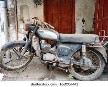 Pune, Maharashtra/India- November 21 2020: An old vintage Rajdoot bike from the early 90s. A forgotten Indian bike. A two-stroke Yamaha motorcycle made in India by Escorts group.