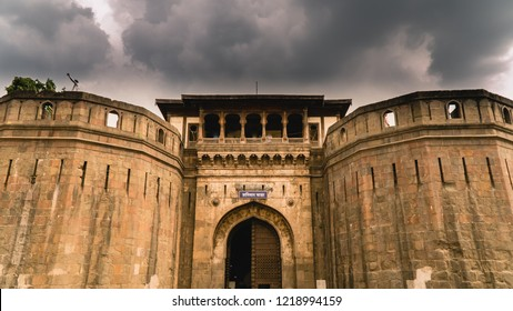 Pune/India - June 2018: Dramatic shot of the front of Shaniwar Wada Fort, with dark clouds