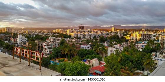Pune,Maharashtra,India,2019,beautiful cityscape with sky at evening.